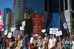 Bill C-51 (Antiterreurakte) Protest in Vancouver Stock Fotografie