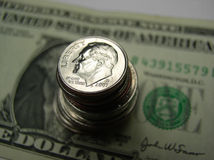 Bill and change US currency Stock Photography