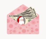 Bill cientos dólares con Santa Claus en sobre rosado abierto con los copos de nieve, aislados en el fondo blanco stock de ilustración