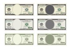 Bill cientos dólares en seis opciones Imagenes de archivo