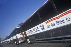 Bill Clinton-/Al Gore Buscapade-Reisebusse in Waco, Texas im Jahre 1992 Lizenzfreies Stockfoto