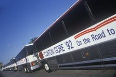 Bill Clinton/Al Gore Buscapade turnerar bussar i Waco, Texas i 1992 royaltyfri foto