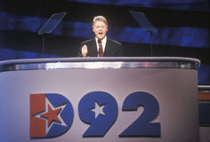 Bill Clinton gives his nomination speech at the Presidential celebration of the 1992 Democratic Convention in Madison Square Garde Royalty Free Stock Photo