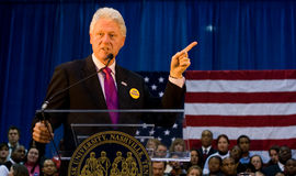 Bill Clinton giving speech at Fisk University Stock Photography