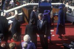 Bill Clinton, 42nd presidente, agita as mãos no dia de inauguração janeiro 20, 1993 em Washington, C Fotografia de Stock Royalty Free