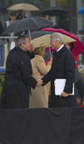 Bill Clinton shakes hands with  George W Bush Stock Image