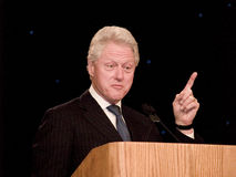 Bill Clinton Speaks. Former United States president, Bill Clinton, speaks to the attendees of the New York State Assembly for Black and Puerto Rican Legislators Stock Images