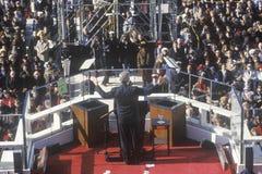 Bill Clinton, 42ste Voorzitter, geeft Inaugureel Adres op Inauguratie Dag 1993, Washington, gelijkstroom royalty-vrije stock foto