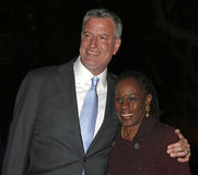 Bill de Blasio und Chirlane McCray Stockfotos