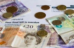 Bill de serviço público e Sterling Currency Fotografia de Stock