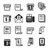Bill, dinheiro, ícones da renda ajustados Ilustração do Vetor