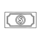 Bill dollar isolated icon Stock Photography