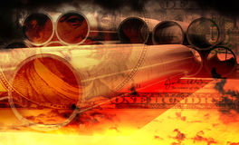 In the bill of 100 dollars on the background of oil pipe industry (double exposure). In the bill of 100 dollars on the background of bright colorful sunset with Royalty Free Stock Image