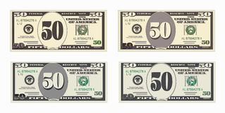 Bill 50 dollars. USA banking currency, cash symbol 50 dollars bill. Money set, paper banknotes fifty dollars. Vector illustration in simple, flat style in four Stock Photo