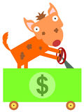 Bill driver. A hyena driving a dollar bill car Royalty Free Stock Image
