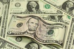 Bill em cinco dólares americanos Imagem de Stock