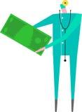 Bill för doktorsholdingdollar royaltyfri illustrationer