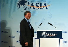Bill Gates im Porzellan Stockbild