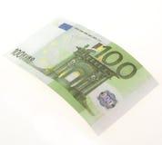 Bill of hundred euros. Isolated on white background Royalty Free Stock Image