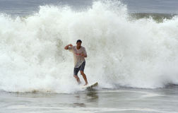 Bill Hurricane brings surfing waves Stock Photos