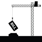 Bill icon with crane construction vector Stock Images