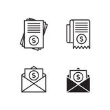 Bill icons. Set, black on a white background Stock Photography