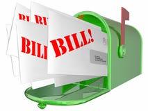 Bill Invoice Letter Payment Due-Briefkasten Lizenzfreies Stockfoto