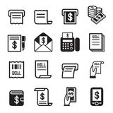 Bill , money , income icons set Royalty Free Stock Photography