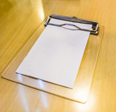 Bill money wood tray white paper blank Royalty Free Stock Photo