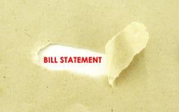 Bill oświadczenie Zdjęcie Stock