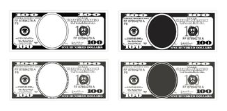 Bill one hundred dollars in black and white color. Template 100 Dollars Banknote. Bill one hundred dollars in black and white color. Suitable for discount cards Royalty Free Stock Photography