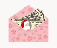 Bill one hundred dollars with Santa Claus in open pink envelope with snowflakes, isolated on white background. stock illustration