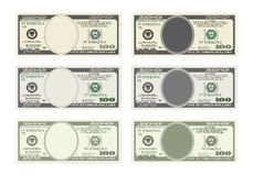 Bill one hundred dollars in six options. Design template 100 Dollars Banknote. Bill one hundred dollars in six options. Suitable for discount cards, leaflet Stock Images