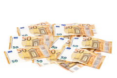 Bill paper 50 euro banknotes backroung. Bills paper 50 euro banknotes as part of the united country`s payment system Stock Photo
