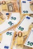 Bill papieru 50 banknotów euro backroung Obraz Royalty Free