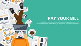Bill payment design in flat style. Paying bills concept. Man sitting on the floor with lap top and paper bill in his lap. Flat vec stock illustration