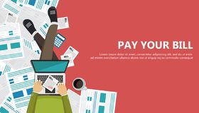 Bill payment design in flat style. Paying bills concept. Man sitting on the floor with lap top and paper bill in his lap. Flat vec. Tor illustration vector illustration