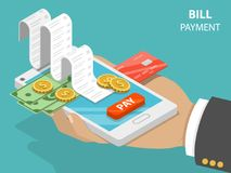 Bill payment flat isometric vector concept. Bill payment flat isometric vector concept of mobile payment, shoping, banking Stock Photography