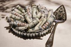 $100 bill pie with server royalty free stock photos