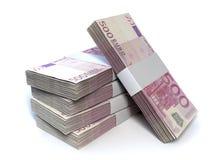 Bill Pile Perspective euro Foto de archivo libre de regalías
