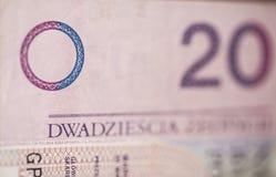 Bill polnischen Zlotys 20 Stockbild