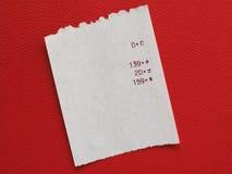 Bill or receipt Stock Photo