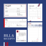 BILL & RECEIPTS. Various types of bill and receipts formats in formal design are gathered and ready to use royalty free illustration