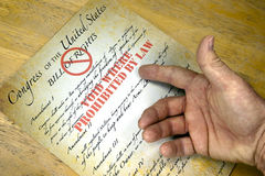 Bill Of Rights,. Hand questioning a copy of the United States Bill Of Rights voided by law Stock Photos