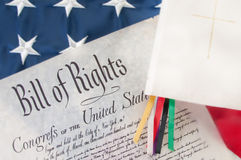 Bill of Rights by bible. Bill of rights next to Bible stock photography