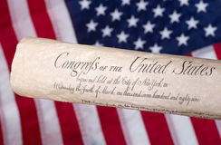 Bill of Rights. United States bill of rights with american flag in background royalty free stock photography