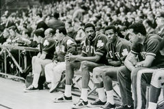 Bill Russell and KC Jones on Celtics Bench Stock Images