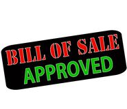 Bill of sale approved. Rubber stamp with text bill of sale approved inside,  illustration Stock Photography