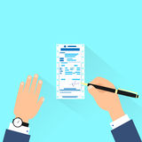 Bill sign up, businessman hands with pen payment. Flat design vector illustration Stock Image