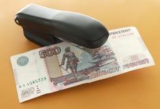 Bill in the stapler. 500 Russian rubles in the stapler Stock Images